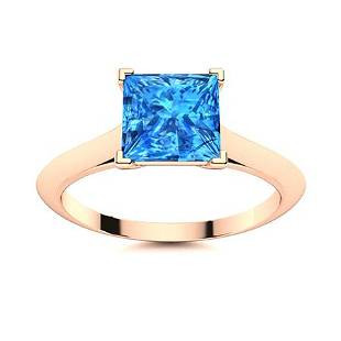 Natural 0.67 CTW Topaz Solitaire Ring 14K Rose Gold