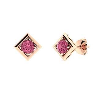 2.66 CTW Pink Sapphire Studs Earrings 14K Rose Gold