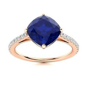 Natural 1.66 CTW Sapphire & Diamond Engagement Ring 14K