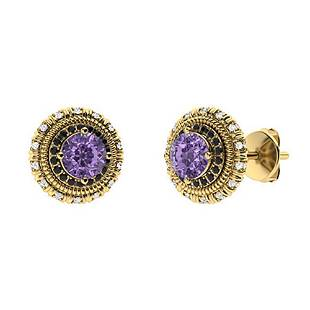 1.174 CTW Iolite Halo Earrings 14K Yellow Gold