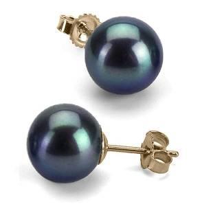 Black Freshwater Pearl Earrings, 8.5-9.0mm