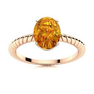Natural 1.55 CTW Citrine Solitaire Ring 14K Rose Gold
