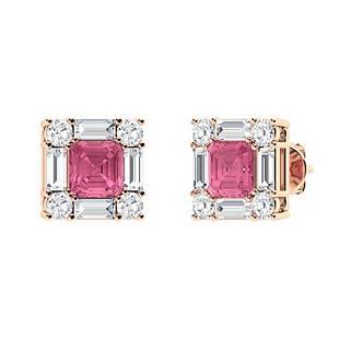 2.11 CTW Pink Tourmaline Halo Earrings 18K Rose Gold