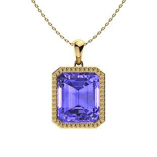 1.43 ctw Tanzanite Necklace 14K Yellow Gold