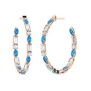 3.12 CTW Blue Topaz Hoops Earrings 14K Rose Gold
