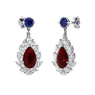 4.44 CTW Garnet Chandelier Earrings 14K White Gold
