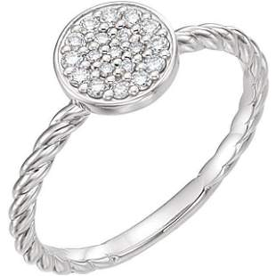 Natural 0.19 CTW Diamond Cluster Rope Promise Ring 14KT