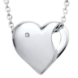 "Rhodium Plated Sterling Silver 18"" Diamond Heart"