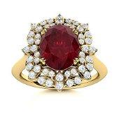Natural 2.28 CTW Ruby & Diamond Engagement Ring 14K