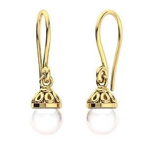 1.6 CTW White Pearl Drops Earrings 18K Yellow Gold