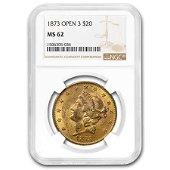 1873 $20 Liberty Gold Double Eagle Open 3 MS-62 NGC