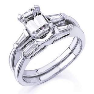 Natural 1.22 CTW Emerald Cut Diamond Engagement Ring
