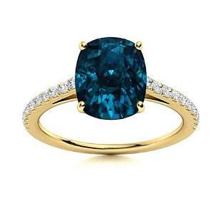 Natural 3.49 CTW Topaz & Diamond Engagement Ring 18K