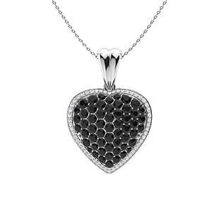 3.01 ctw White & Black Diamond Necklace 14K White Gold