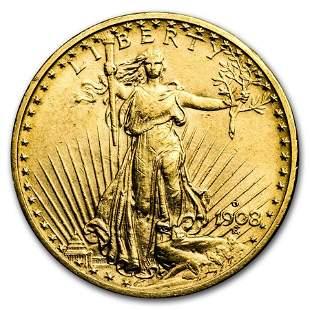 1908-D $20 Saint-Gaudens Gold Double Eagle No Motto XF