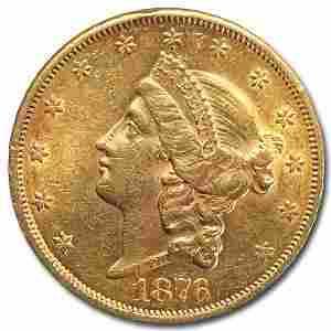 1876-S $20 Liberty Gold Double Eagle AU