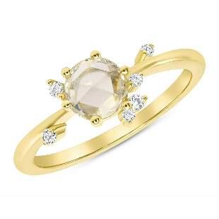 Natural 0.52 CTW Rose Cut Diamond Cluster Ring 14KT