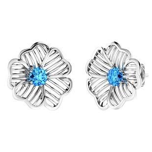 2.46 CTW Blue Topaz Halo Earrings 18K White Gold