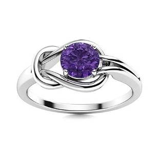 Natural 0.62 CTW Amethyst Solitaire Ring 18K White Gold