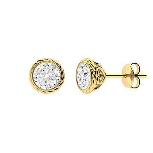 1.26 CTW Diamond Studs Earrings 18K Yellow Gold