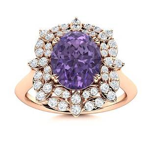 Natural 1.96 CTW Iolite & Diamond Engagement Ring 18K