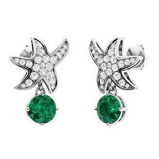 1.45 CTW Emerald & Diamond Drops Earrings 18K White