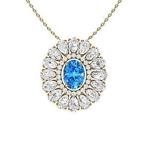 3.61 ctw Topaz & Diamond Necklace 18K Yellow Gold