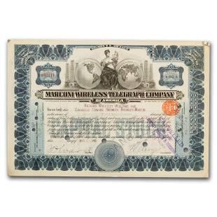 Marconi Wireless Telegraph Co Stock Certificate