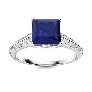 Natural 1.77 CTW Sapphire & Diamond Engagement Ring 14K