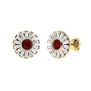 4.44 CTW Garnet & Diamond Halo Earrings 14K Yellow Gold