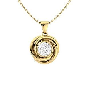 0.42 ctw White Topaz Necklace 14K Yellow Gold