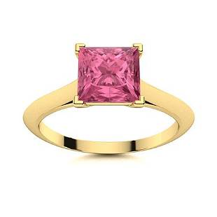 Natural 0.86 CTW Tourmaline Solitaire Ring 14K Yellow
