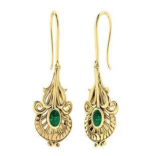 1.04 CTW Emerald Chandelier Earrings 18K Yellow Gold