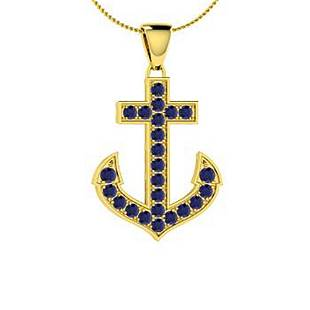0.37 ctw Blue Sapphire Necklace 14K Yellow Gold