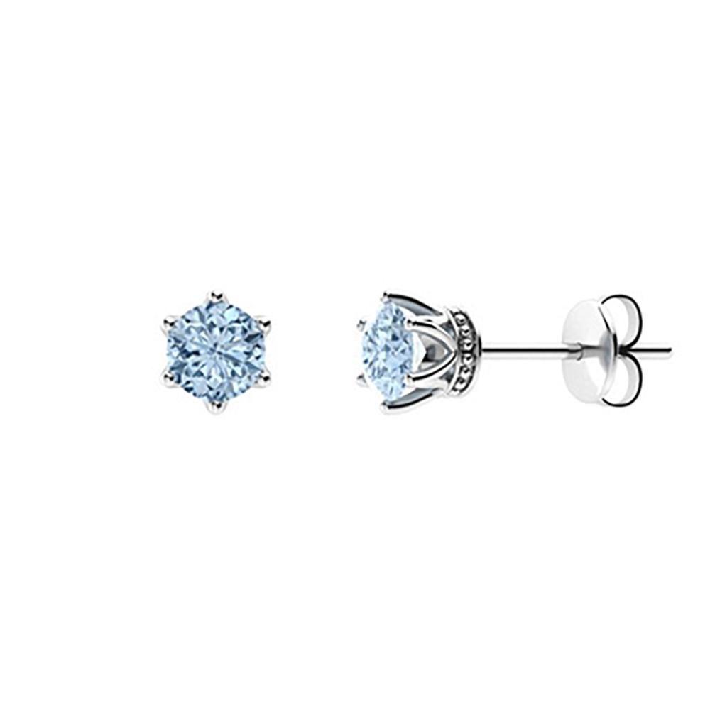 2.14 CTW Aquamarine Studs Earrings 18K White Gold