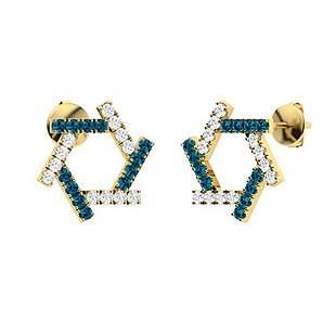 0.64 CTW London Blue Topaz & Diamond Halo Earrings 14K
