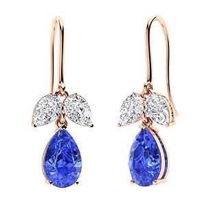4.16 CTW Ceylon Sapphire & Diamond Drops Earrings 14K
