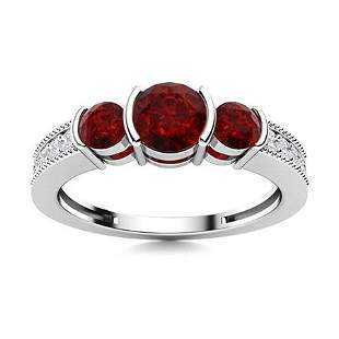 Natural 0.90 CTW Garnet & Diamond Engagement Ring 14K