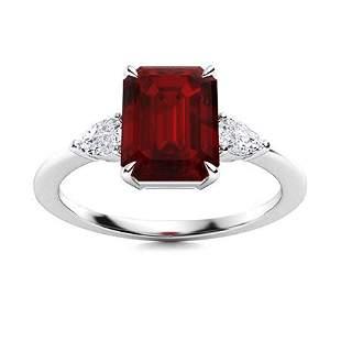 Natural 3.46 CTW Garnet & Diamond Engagement Ring 18K