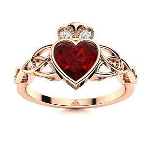 Natural 1.71 CTW Garnet & Diamond Engagement Ring 14K