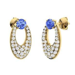 1.44 CTW Ceylon Sapphire & Diamond Drops Earrings 18K