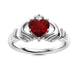 Natural 1.73 CTW Garnet & Diamond Engagement Ring 18K