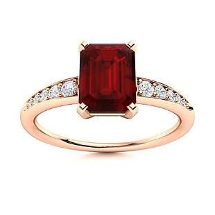 Natural 1.64 CTW Garnet & Diamond Engagement Ring 14K
