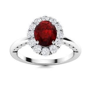 Natural 1.37 CTW Garnet & Diamond Engagement Ring 14K