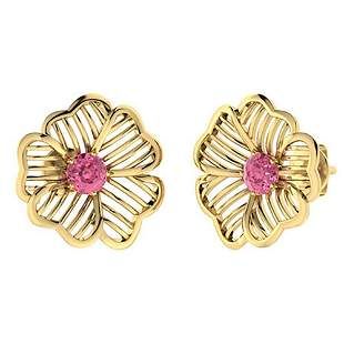 1.26 CTW Pink Tourmaline Halo Earrings 18K Yellow Gold