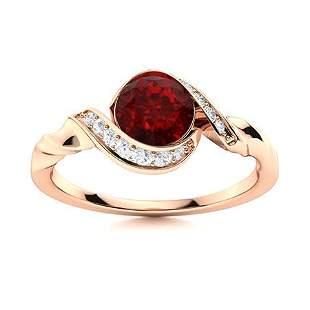 Natural 0.84 CTW Garnet & Diamond Engagement Ring 14K