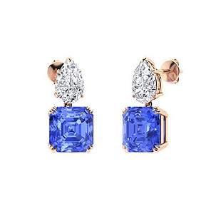 5.56 CTW Ceylon Sapphire & Diamond Drops Earrings 14K