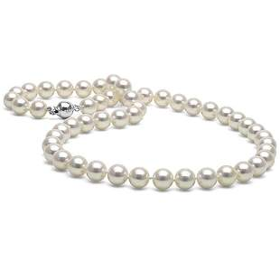 White Akoya Pearl Necklace, 8.0-8.5mm