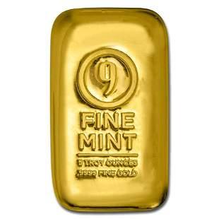 5 oz Cast-Poured Gold Bar - 9Fine Mint