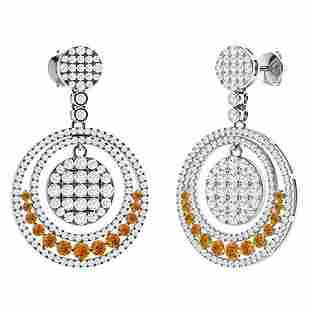 3.23 CTW Citrine Chandelier Earrings 18K White Gold